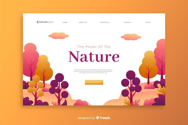 Modelo de página de destino de natureza gradiente
