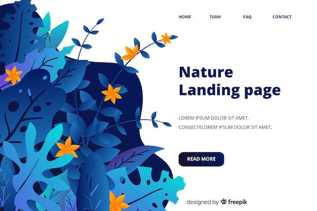 Modelo de página de destino de natureza plana