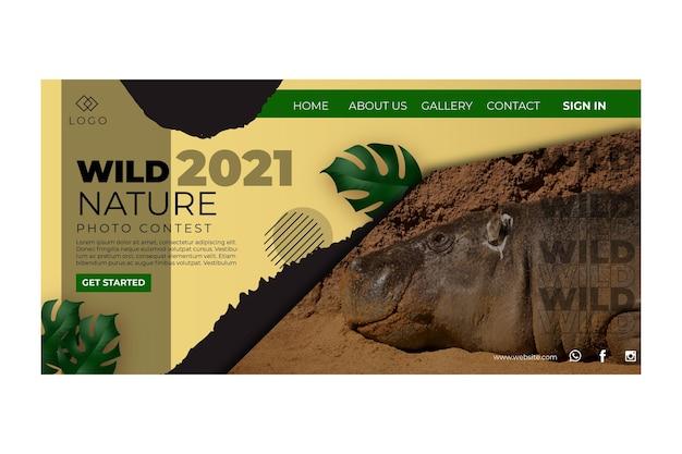 Modelo de página de destino de natureza selvagem Vetor grátis