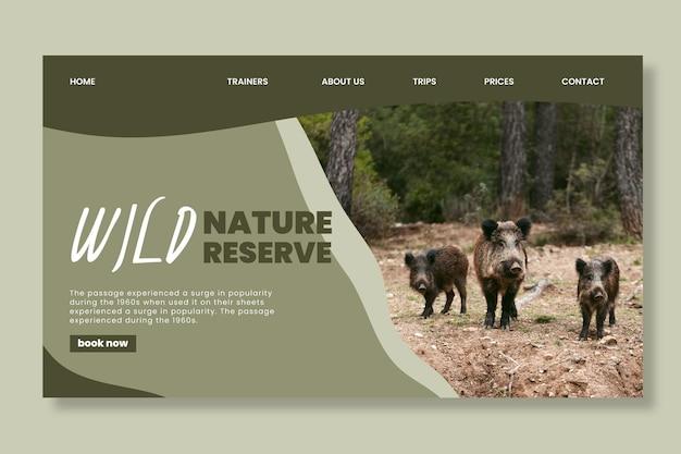 Modelo de página de destino de natureza selvagem