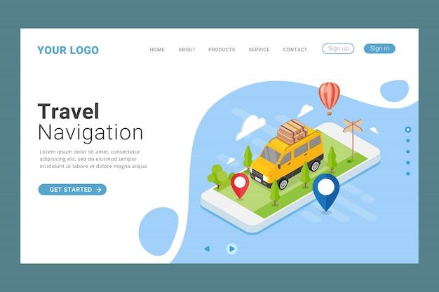 Modelo de página de destino de navegação de viagem