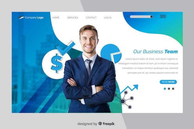 Modelo de página de destino de negócios com foto