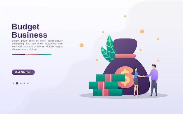Modelo de página de destino de negócios de orçamento em estilo de efeito gradiente