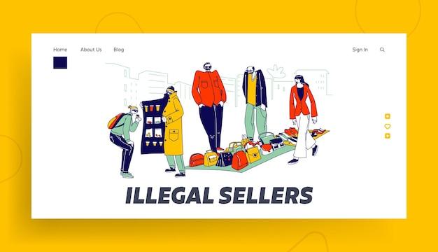 Modelo de página de destino de negócios de personagens de vendedores ilegais. contrabandistas vendem no mercado negro