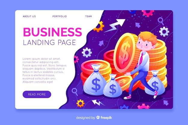 Modelo de página de destino de negócios desenhada mão