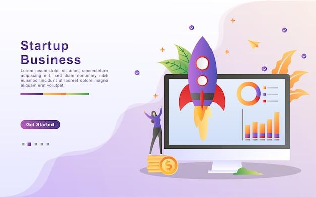 Modelo de página de destino de negócios iniciantes em estilo de efeito gradiente