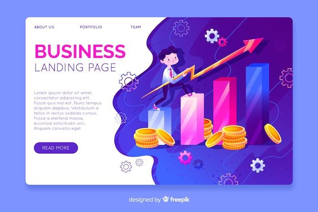 Modelo de página de destino de negócios tridimensional