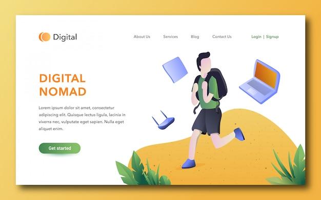 Modelo de página de destino de nômade digital