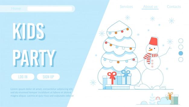 Modelo de página de destino de organização de festas para crianças no inverno