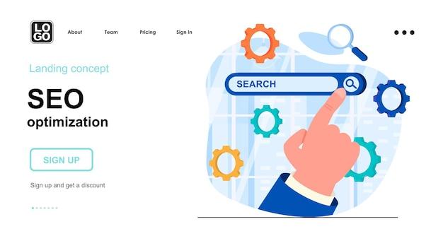 Modelo de página de destino de otimização de seo