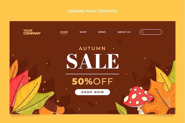 Modelo de página de destino de outono desenhado à mão