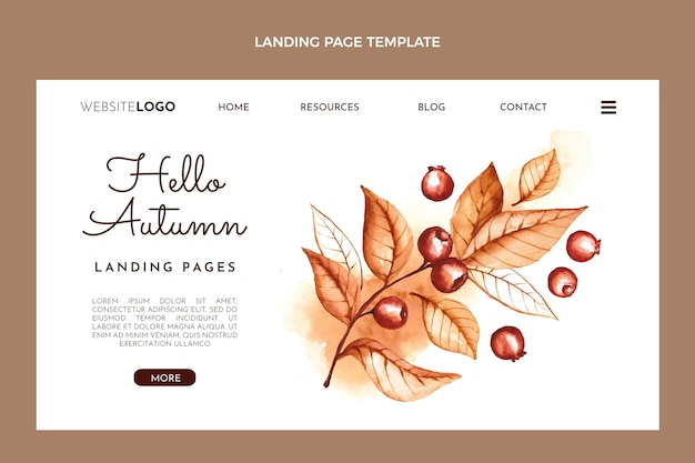 Modelo de página de destino de outono em aquarela