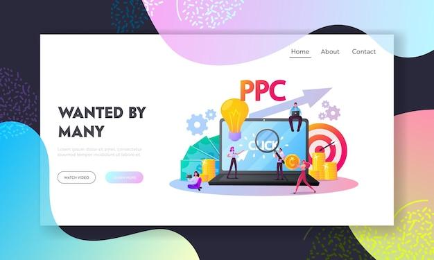 Modelo de página de destino de pagamento por clique. personagens minúsculos em um computador enorme com o cursor clicando no botão do anúncio