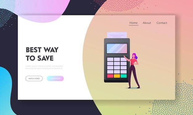 Modelo de página de destino de pagamento sem contato com leitor de cartão de crédito