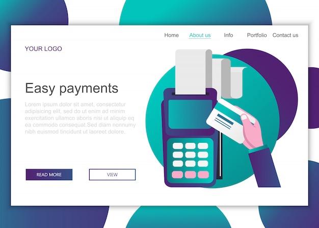 Modelo de página de destino de pagamentos fáceis