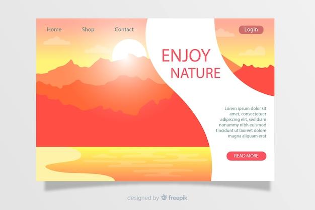 Modelo de página de destino de paisagem natural