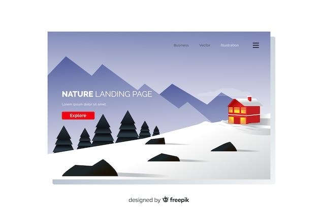 Modelo de página de destino de paisagem plana