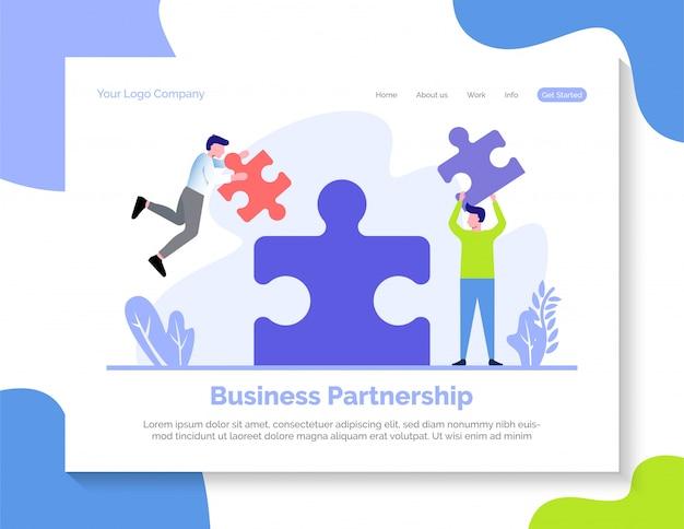 Modelo de página de destino de parceria de negócios