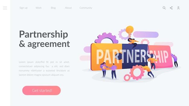 Modelo de página de destino de parceria e acordo