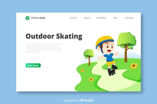 Modelo de página de destino de patinação ao ar livre