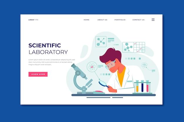 Modelo de página de destino de pesquisa científica de design plano