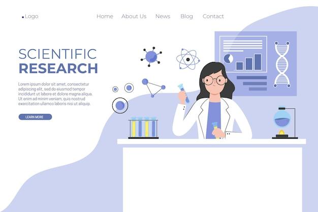 Modelo de página de destino de pesquisa científica