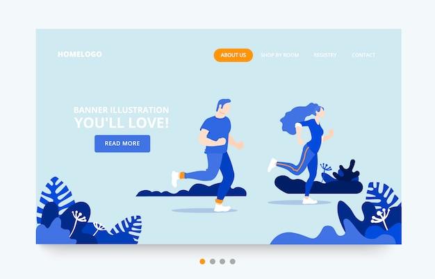 Modelo de página de destino de pessoas do exercício