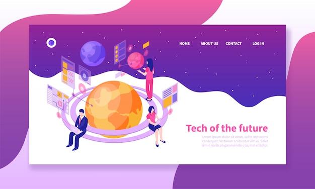 Modelo de página de destino de pessoas que usam tecnologias futuras