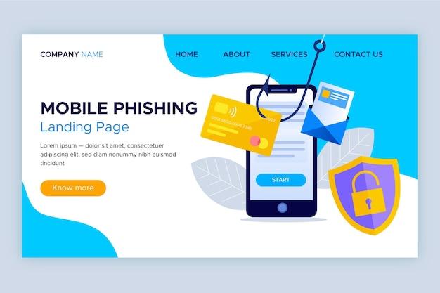Modelo de página de destino de phishing para celular
