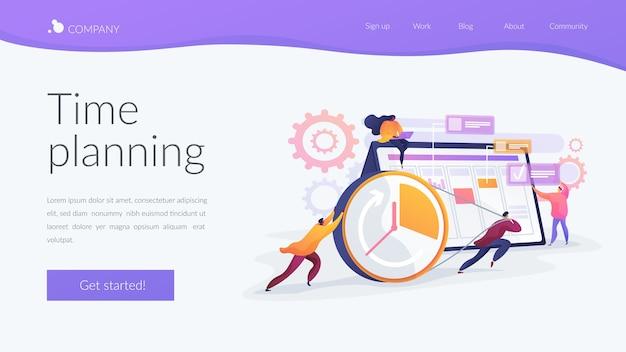 Modelo de página de destino de planejamento de tempo