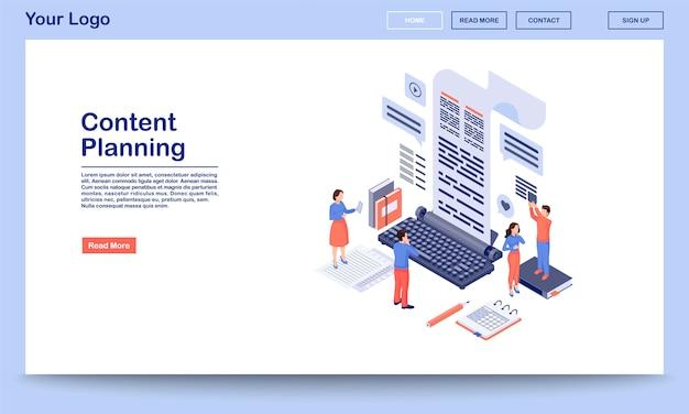 Modelo de página de destino de planejamento e gerenciamento de conteúdo.