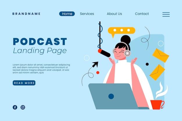 Modelo de página de destino de podcast com ilustração