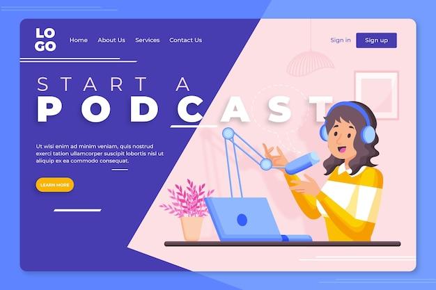 Modelo de página de destino de podcast ilustrado
