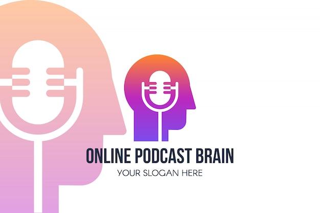 Modelo de página de destino de podcast. programa on-line, rádio ou blog banner da web. canal moderno de podcast de áudio ou vídeo.