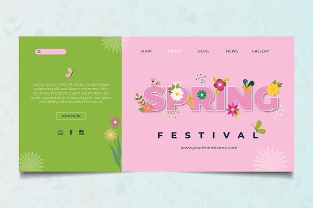 Modelo de página de destino de primavera de design plano floral