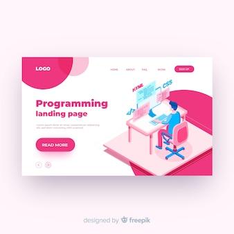 Modelo de página de destino de programação isométrica
