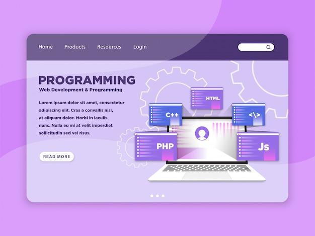 Modelo de página de destino de programação