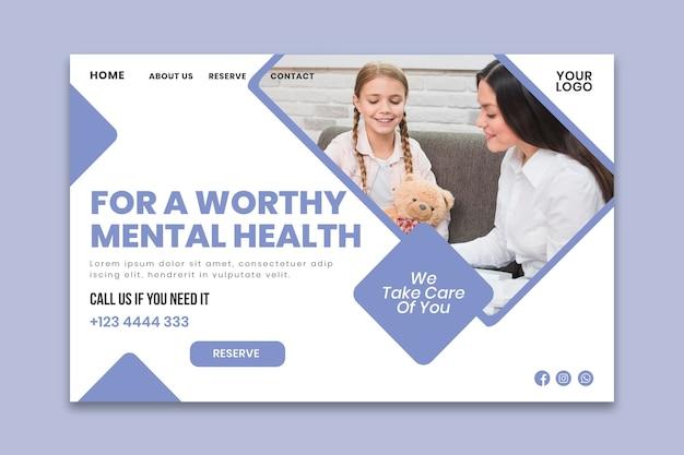 Modelo de página de destino de psicologia clínica