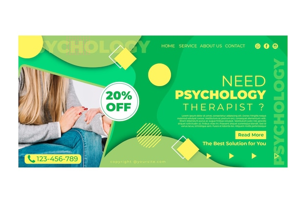 Modelo de página de destino de psicologia