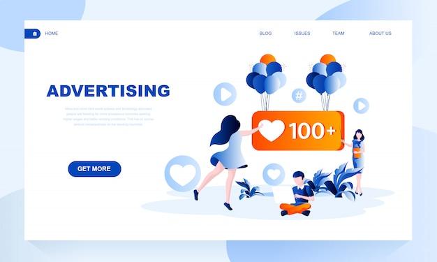 Modelo de página de destino de publicidade com cabeçalho