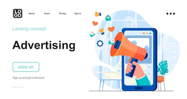 Modelo de página de destino de publicidade com caráter de pessoas