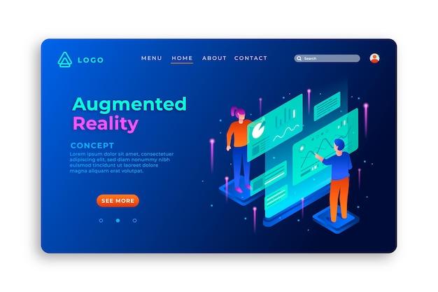 Modelo de página de destino de realidade aumentada com ilustrações
