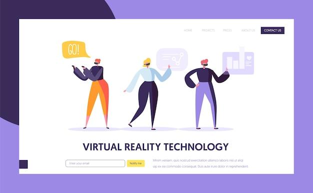 Modelo de página de destino de realidade virtual. conceito de realidade aumentada para site ou página da web.
