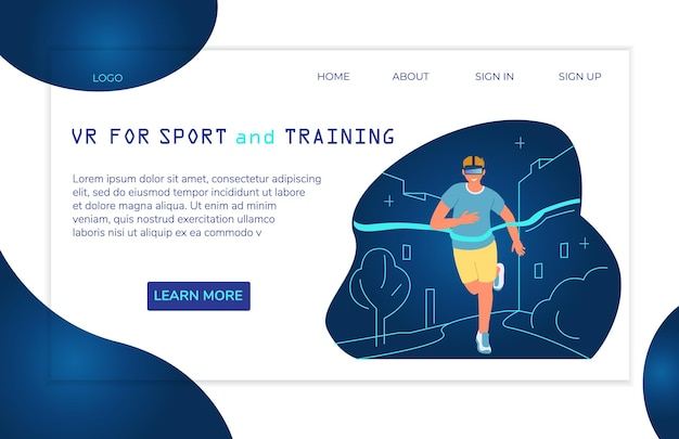 Modelo de página de destino de realidade virtual para esportes e treinamentorunning man crosses finishing line
