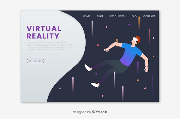 Modelo de página de destino de realidade virtual