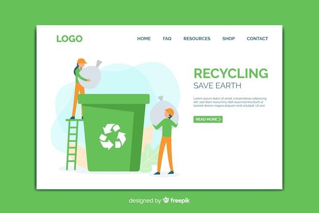 Modelo de página de destino de reciclagem
