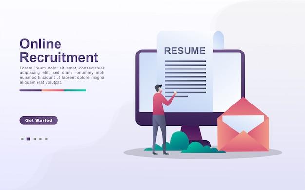 Modelo de página de destino de recrutamento on-line em estilo de efeito gradiente