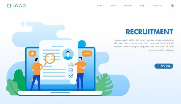 Modelo de página de destino de recrutamento