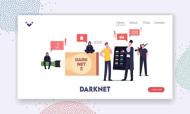 Modelo de página de destino de rede escura. usuário de personagem masculino escolhe conteúdo proibido no criminoso de capa preta e chapéu. hacker, serviço virtual darknet do cyber crime. ilustração em vetor desenho animado