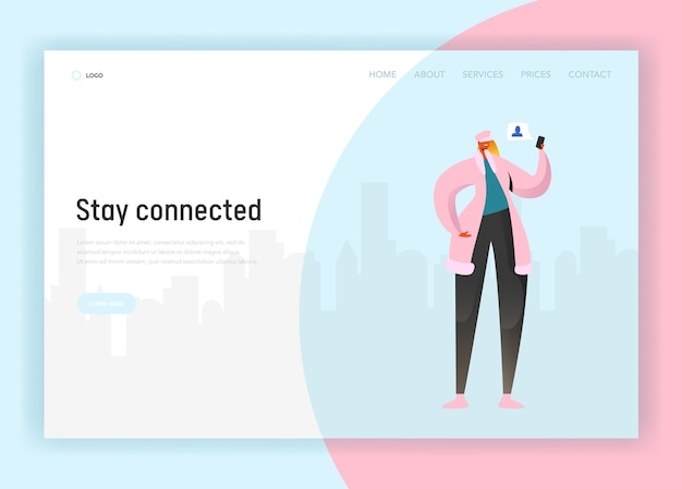 Modelo de página de destino de rede social. personagem de mulher se comunicando usando smartphone para site ou página da web. conceito de comunicação virtual. ilustração vetorial